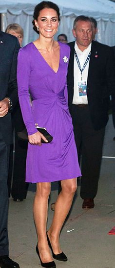 For the evening Canada Day celebrations, Catherine Middleton changed into a royal purple Issa dress, in a similar silhouette to the sapphire blue look she chose when her and Prince William announced their engagement last year. She finished the look with a black Anya Hindmarch clutch. July, 2011