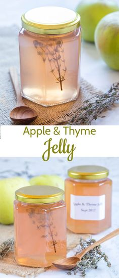 Homemade Apple Jelly - Easy to make! Homemade apple jelly with thyme is a delicious accompaniment to a traditional roast, or add a spoonful to a casserole for a hint of sweetness and extra flavour. Jelly Recipes, Dessert Recipes, Yummy Recipes, Apple Recipes To Freeze, Cooking Apple Recipes, Lunch Recipes, Fruit Jelly Recipe, Sweet Desserts, Recipes Dinner