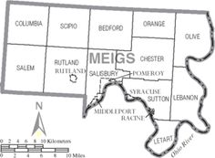 Municipal and township labels of Meigs County, Ohio.