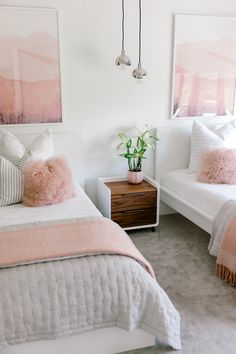 Twin girl bedrooms - From Far Away Dream to Reality Kailee Wright's Custom Home Rue Twin Girl Bedrooms, Sister Bedroom, Shared Girls Rooms, Twin Bedroom Ideas, Simple Girls Bedroom, Kids Rooms, Modern Girls Rooms, Bedroom Romantic, Girl Bedroom Designs