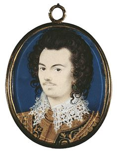 1588-90:  Robert Devereux, 2nd Earl of Essex.  Miniature by Hilliard in the Natl Galleries of Scotland.  PG 3423