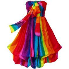 Pikulla Balloon Hem Women's Rainbow Hippie Gypsy Sundress... ($8.99) ❤ liked on Polyvore featuring dresses, balloon dress, gypsy dresses, multi colored dress, red dress and red sun dress