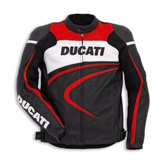 Custom Handmade Black Red Ducati Motorcycle Biker Leather Jacket for Men #Handmade