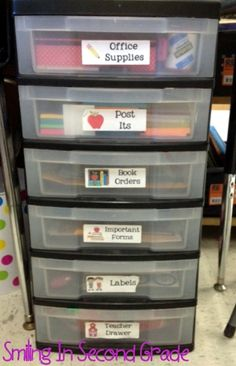 organized teacher desk ideas | use the drawers to store important information and anything that I ...