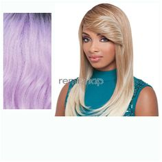 Janet Premium Synthetic Fiber Wigs Zinnia - Color PT1B/L.PUR/P - Synthetic (Curling Iron Safe) Regular Wig