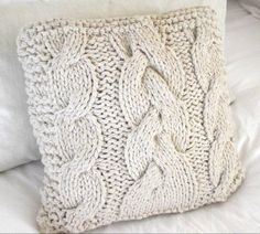 cream knitted #cushion # cable knit