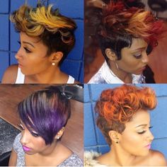 iluvyourhair @iluvyourhair Instagram photos | Websta Pretty Hair Color, Hair Color And Cut, Short Styles, Long Hair Styles, Natural Hair Styles, Short Curly Pixie, Short Hair Cuts, Black Girls Hairstyles, Pixie Hairstyles