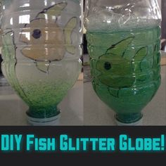 Make a really easy DIY fish glitter globe!  You need: A round jar with lid or a water bottle Glass paints or permanent markers Water Glycerine  What to do: 1- With your jar or bottle turned upside down, draw or paint a fish and wait to dry 2- Fill the bottle with water and add a teaspoon of glitter and a few drops of glycerine (glycerine makes glitter fall slowly to the bottom) 3- Shake it and see your creation