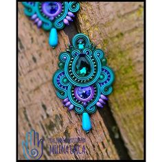 More Soutache Necklace, Beaded Earrings, Earrings Handmade, Beaded Jewelry, Handmade Jewelry, Folk Embroidery, Beaded Embroidery, Embroidery Designs, Learn Embroidery