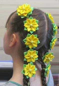 Headband Hairstyles, Diy Hairstyles, Black Flower Crown, Ribbon Flower Tutorial, Hobbies For Women, Ribbon Headbands, Kanzashi Flowers, Diy Hair Bows, Diy Hair Accessories