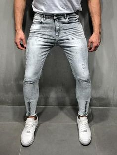 Bleach wash jeans random rips mens jeans in 2019 одежда, брюки, Grey Jeans Men, Ripped Jeans Men, Patched Jeans, Blue Jeans, Streetwear Jeans, Streetwear Fashion, Super Skinny Jeans, Skinny Fit, Distressed Jeans