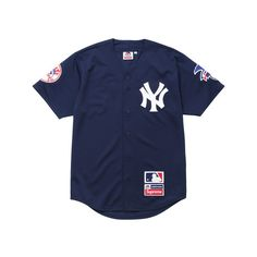 Supreme New York Yankees /Supreme/Majestic Baseball Jersey ($128) ❤ liked on Polyvore featuring tops, jersey knit tops, blue top, baseball top and jersey tops