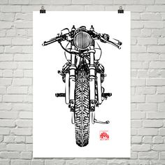 KillerBeeMoto: Limited Prints Italian Engineered Vintage Cafe Racer Front View Poster (Ink Style Illustration)