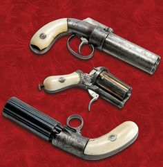 These ivory-gripped examples are still striking, after more than a century since they were first manufactured. From top: six-shot 32-caliber Sprague and Marston with barrels bored from a single piece of steel; six-shot folding trigger 30-caliber pinfire with Belgian proofmarks; six-shot 32-caliber percussion pepperbox with ring trigger, maker unknown.
