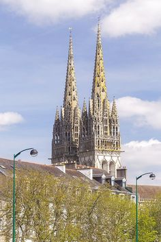 Quimper cathedral, France. Built in the 13th century, Quimper cathedral was constructed in the Gothic style.