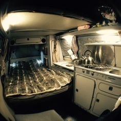 It's raining and cold outside. Inside, the post drinks tea is on and the bed is made #westylife #Volkswagen #vw #vwt25  #vwt3  #vanagon #westy #westfalia #t25 #t3www.VolkswagenT25.com