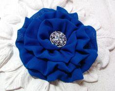 Royal Blue Bridesmaid Headpiece. Wedding hair clip and pin combo. Chiffon Fabric Flower. brooch