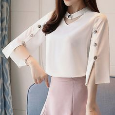 Middle East Bright Button Solid Color Half Sleeve Chiffon Shirt look not only special, but also they always show ladies' glamour perfectly and bring surprise. Sleeves Designs For Dresses, Sleeve Designs, Blouse Styles, Blouse Designs, Fashion Wear, Fashion Dresses, Vetement Fashion, Mode Hijab, Chiffon Shirt