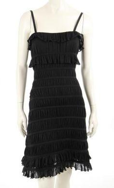 Christian Dior Black Tiered Ruffle Dress Size 36 #ChristianDior #Tiered