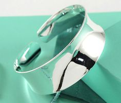 Women Simple Silver Wide Thin Cuff Bangles Bracelets Fashion Gifts A+