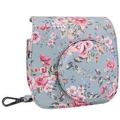 Elvam Vintage Flower Floral Pattern Pleather Fujifilm Instax Mini 8  Mini 8 Instant Film Camera Case Bag w a Mataching Removable Detachable Camera Bag Strap *** Check this awesome product by going to the link at the image.