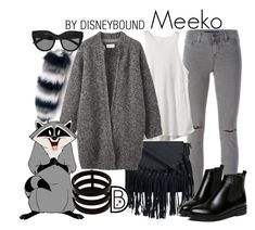 """""""Meeko"""" by leslieakay ❤ liked on Polyvore featuring J Brand, RVCA, Toast, WithChic, Le Specs, Repossi, disney, disneybound and disneycharacter"""