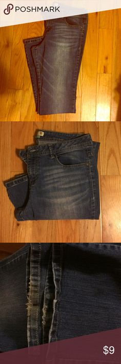 A cute pair of jeans Super soft and comfy pair of Boot Cut Route 66 Jeans.They are frayed at ends. Still have a lot of life left. Length 41 Inseam33 Route 66 Jeans Boot Cut