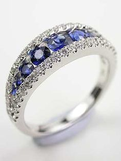 Sapphire and Diamond Antique Style Wedding Ring...pinned by ♥ wootandhammy.com, thoughtful jewelry.