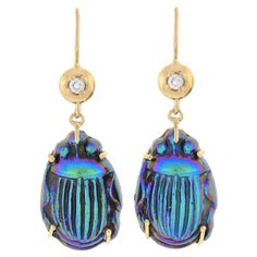 Art Nouveau Diamond, Gold, and Art Glass Scarab Earrings (c.1915) by Tiffany Favrile♥❤♥