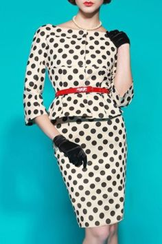 Vintage Slash Neck Polka Dot Print 3/4 Sleeve Dress For WomenVintage Dresses | RoseGal.com