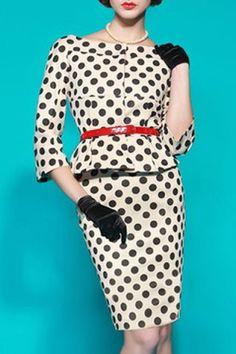 Vintage Slash Neck Polka Dot Print 3/4 Sleeve Dress For Women Vintage Dresses | RoseGal.com Mobile