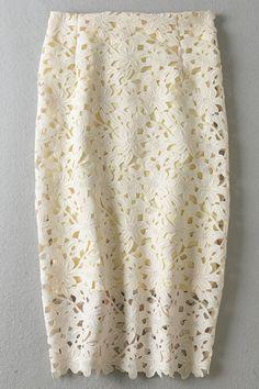 High-Waisted Crochet Hollow Pancil Skirt