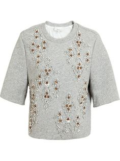 3.1 PHILLIP LIM - Embellished Jersey Cropped Sweater