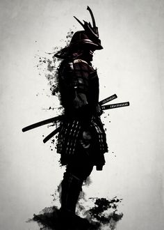 Armored Samurai by Nicklas Gustafsson #samurai #warrior #sword #katana #japan #japanese #spatter #dark #inkspatter #digital #illustration #artprint #wallart #homedecor #art