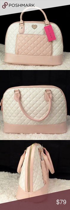 """Betsey Johnson Pastel Quilted Satchel with Pouch New with tags.  Detachable light pink shoulder strap 26"""" drop. Synthetic leather.  Zip closure.  Quilted fabric.  interior zipped pocket.  Detachable Zipped pouch with pastel stripes.  Top handles 6"""" drop. No defects or flaws. Betsey Johnson Bags Satchels"""