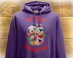 Mickey and Minnie Mouse Adult Hoodie, Minnie Mouse Christmas Jumper Graphic, Christmas Gift, Disney Clothing.