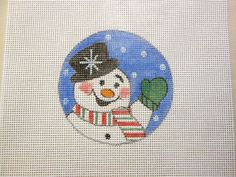 $9.95        Waving Howdy Snowman Christmas Ornament Handpainted Needlepoint Canvas