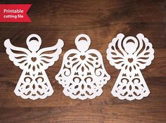 Paper Cut Angels Set. Diy printable vector file decoration