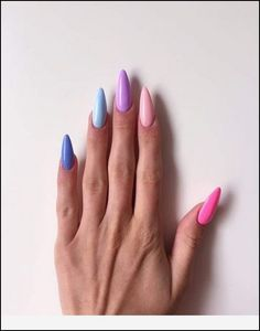 Pretty Multicolored Nail Art Designs For Spring and Summer 2019 rainbow nails, colorful nail art design, French manicure, Multicolored Nail Art Designs Cute Nails, Pretty Nails, My Nails, Shellac Nails, Oval Nails, Gel Manicure, Gradient Nails, Rainbow Nails, Galaxy Nails
