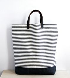Handmade Striped Canvas Tote - I'm dreaming of a duffle bag made in these colors at this point..... HANDSOME, PRETTY, SIMPLE, CLEAN LINES..... love it!