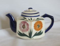 Maruhon 4 Cup Teapot Decorated with Zinnias Cobalt Blue by Alveta, $20.00