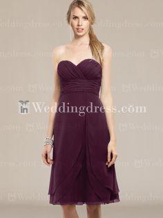 Chiffon Strapless Knee Length Bridesmaid Dress BR357 Many Colors
