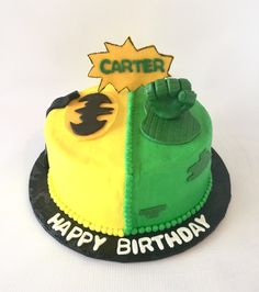 Batman and Hulk superhero birthday cake