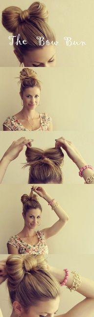 Bow bun--  1. Gather hair into a high ponytail.    2. Walk the hair forward and hold it with a rubber band, leaving the ends out and on top of the head.    3. Divide the hair in the middle.    4. Gather the loose hair in one section and pull it directly behind the bow.    5. Use bobby pins to fit and ready to go.