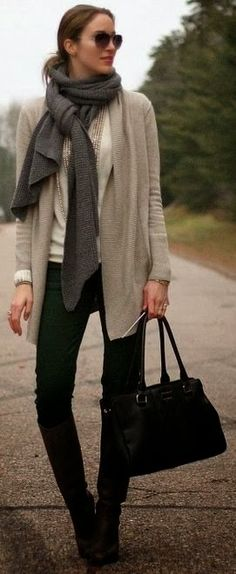 Fall Outfit With Black Long Boots,Plain Cardigan and Shades