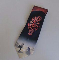 Mens Vintage Necktie Star Wars Darth Maul Ralph Marlin Polyester Black Orange #RalphMarlin #Tie