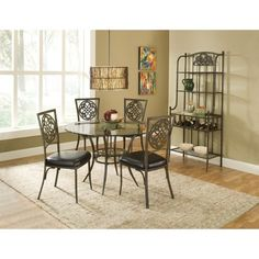 Hillsdale Marsala Tempered Glass Top Round Dining Table - Brown