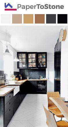 New Kitchen Ideas Black Cabinets Butcher Blocks Ideas Home Decor Kitchen, New Kitchen, Kitchen Flooring, Home Kitchens, Kitchen Design, Black Kitchens, Kitchen Remodel, Kitchen Renovation, Trendy Kitchen