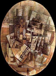 Bodegón con vaso y periódico ( El velador ). Braque  1913. Óleo sobre tela. 91 x 71 cm