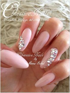NUde, baby Pink with many Swarovski crystals Almond Nails :) LOVE IT